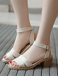 baratos -Mulheres Sapatos Couro Ecológico Verão Conforto Sandálias Salto Robusto para Escritório e Carreira Branco / Bege