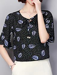 abordables -Mujer Básico Estampado Blusa A Lunares Geométrico