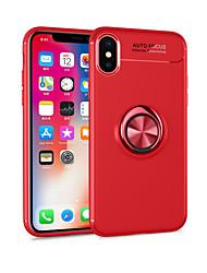 Недорогие -Кейс для Назначение Apple iPhone X / iPhone 8 Plus со стендом / Кольца-держатели / Магнитный Кейс на заднюю панель Однотонный Мягкий ТПУ для iPhone X / iPhone 8 Pluss / iPhone 8