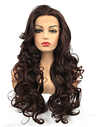 cheap -Synthetic Lace Front Wig Curly Middle Part Synthetic Hair 100% kanekalon hair Burgundy Wig Women's Long Natural Wigs / Celebrity Wig Lace