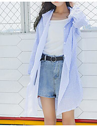 cheap -Women's Vintage Shirt - Solid Colored Blue & White, Tassel