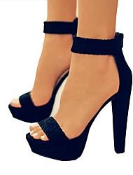 baratos -Mulheres Sapatos Pele Nobuck Primavera Verão Plataforma Básica Sandálias Salto Robusto Dedo Aberto Preto / Amêndoa / Festas & Noite