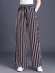 economico -Per donna Essenziale Taglie forti Largo A zampa Pantaloni - Monocolore In bianco e nero / Primavera