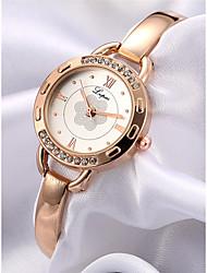economico -Per donna Orologio braccialetto Cinese Cronografo / imitazione diamante / di legno Lega Banda Fiore / A schiava Oro rosa