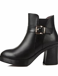 お買い得  -女性用 靴 レザー 秋冬 コンバットブーツ ブーツ チャンキーヒール ラウンドトウ のために アウトドア ブラック / Brown