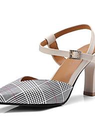 preiswerte -Damen Schuhe PU Herbst Winter Komfort / Neuheit High Heels Blockabsatz Spitze Zehe Schnalle Gelb / Grün / Mandelfarben