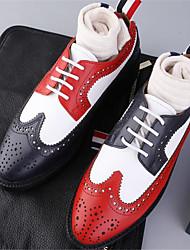 Недорогие -Муж. Кожа Весна / Осень Удобная обувь Туфли на шнуровке Гольф Контрастных цветов Белый