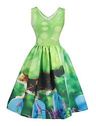 baratos -Mulheres Para Noite Vintage / Moda de Rua Delgado Evasê Vestido - Estampado, Floral / Animal Decote V Altura dos Joelhos / Primavera / Verão