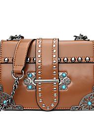 cheap -Women's Bags PU Shoulder Bag Rivet Black / Red / Brown