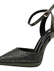 preiswerte -Damen Schuhe Paillette Sommer Pumps / Fersenriemen High Heels Stöckelabsatz Spitze Zehe Schnalle für Party & Festivität Schwarz / Silber