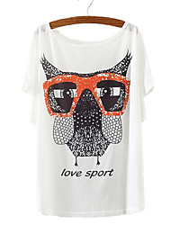 cheap -Women's Going out / Club Active Batwing Sleeve Cotton Loose T-shirt - Bird Owl, Print / Summer