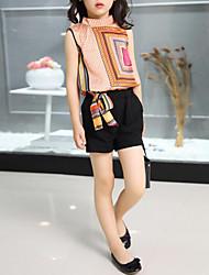 cheap -Kids Girls' Geometric / Patchwork Sleeveless Clothing Set
