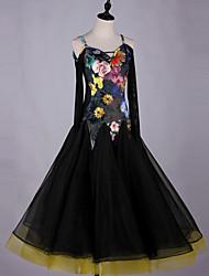cheap -Ballroom Dance Dresses Women's Performance Spandex Pattern / Print / Ruching Long Sleeve Dress