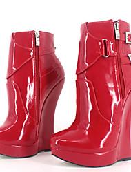 preiswerte -Damen Schuhe PU Herbst Winter Neuheit / Stiefeletten Stiefel Keilabsatz Runde Zehe Booties / Stiefeletten Schnalle Rot / Blau / Rosa