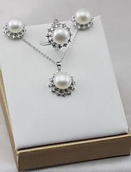 baratos -Mulheres Zircônia Cubica S925 Sterling Silver / Pérolas de água doce Luxo Conjunto de jóias 1 Anél / Brincos / Pingente 1PC - Luxo /