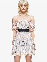 お買い得  -女性用 シフォン ドレス ソリッド 膝上