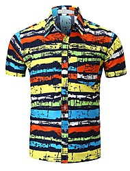 cheap -Men's Active Shirt - Striped Color Block Black & Red, Print