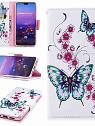 preiswerte -Hülle Für Huawei P20 lite P20 Pro Kreditkartenfächer Geldbeutel mit Halterung Flipbare Hülle Muster Ganzkörper-Gehäuse Schmetterling Hart
