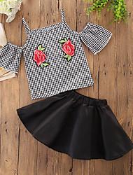 Недорогие -Дети (1-4 лет) Девочки Черный и серый Однотонный / С принтом / В клетку С короткими рукавами Набор одежды
