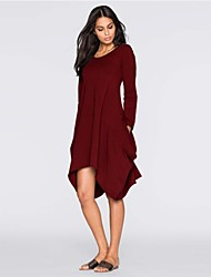 cheap -Women's Basic Tunic Dress - Solid Colored