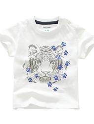 Недорогие -Дети (1-4 лет) Девочки Активный Повседневные Тигр С принтом С принтом С короткими рукавами Обычный Хлопок Футболка Белый