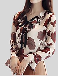 Недорогие -Жен. С принтом Блуза V-образный вырез Тонкие Очаровательный Цветочный принт / Осень