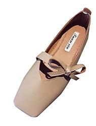 abordables -Femme Chaussures Polyuréthane Eté Confort Ballerines Talon Plat Gris / Amande