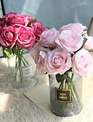 baratos -Flores artificiais 5 Ramo Rústico / buquês de Noiva Rosas Flor de Mesa