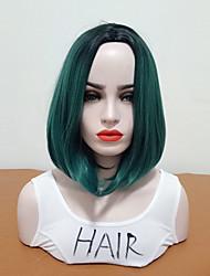 abordables -Perruque Synthétique Droit Coupe Carré Cheveux Synthétiques Homme / Taille moyenne / Au Milieu Vert Perruque Femme Mid Length Sans bonnet Noir / Vert foncé / Oui
