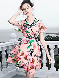 cheap -Blueskybutterfly Women's Basic / Sophisticated Butterfly Sleeves Swing Dress Print