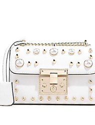 cheap -Women's Bags Genuine Leather Shoulder Bag Pearls for Event / Party / Going out White / Black / Red