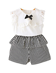 cheap -Toddler Girls' Solid Colored / Striped Sleeveless Clothing Set