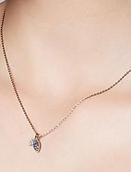 baratos -Mulheres S925 Sterling Silver / Banhado a Ouro 18K Colares com Pendentes / Colares em Corrente - Simples / Casual Trevo de Quatro Folhas