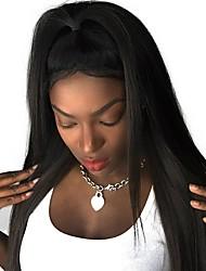 baratos -Cabelo Remy Frente de Malha Peruca Cabelo Brasileiro Liso Peruca 130% Com Baby Hair / Riscas Naturais / Não processado Natural Mulheres Curto / Longo / Comprimento médio Perucas de Cabelo Natural
