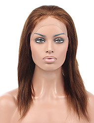 cheap -Remy Human Hair Lace Front Wig Brazilian Hair Straight Wig 130% With Baby Hair / Soft / Silky Natural Women's Short / Long / Mid Length Human Hair Lace Wig / Natural Hairline