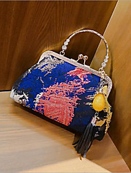 cheap -Women's Bags Textile Tote Tassel for Event / Party / Going out Blue / Black / Fuchsia