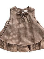 Недорогие -Дети Девочки Горошек Без рукавов Рубашка