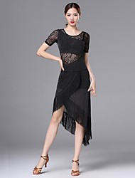 cheap -Latin Dance Dresses Women's Performance Nylon Lace / Tassel / Split Joint Short Sleeve High Dress