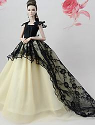 baratos -Vestidos Vestir Para Boneca Barbie Preto / Branco Renda / Mistura de Seda / Algodão Vestido Para Menina de Boneca de Brinquedo
