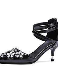 baratos -Mulheres Sapatos Courino Primavera Verão Plataforma Básica Saltos Caminhada Salto Agulha Dedo Apontado Preto / Rosa claro
