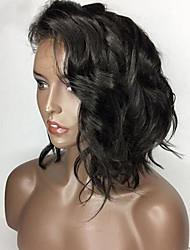 baratos -Cabelo Remy Peruca Cabelo Brasileiro Ondulado Corte Bob 130% Densidade Com Baby Hair Com nós descorados Não processado Peruca Afro