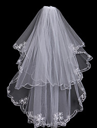cheap -Two-tier Fashionable Jewelry / Flower Style / Mesh Wedding Veil Chapel Veils with Fringe / Splicing 31.5 in (80cm) POLY / Tulle / Oval