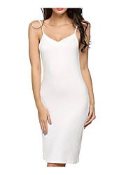 Недорогие -Жен. Классический Облегающий силуэт Платье - Однотонный До колена