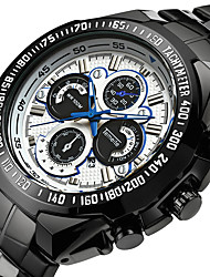 cheap -Men's Quartz Sport Watch Calendar / date / day Stainless Steel Band Luxury Cool Black Silver