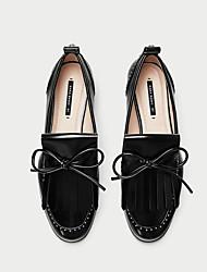 Недорогие -Жен. Обувь Кожа Весна лето Удобная обувь Мокасины и Свитер На низком каблуке Круглый носок Черный