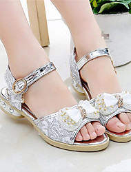 cheap -Girls' Shoes Cowhide Summer Flower Girl Shoes Sandals Bowknot for Outdoor Gold Silver Pink