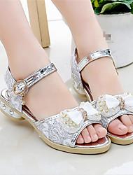 preiswerte -Mädchen Schuhe Leder Sommer Schuhe für das Blumenmädchen Sandalen Schleife für Gold / Silber / Rosa