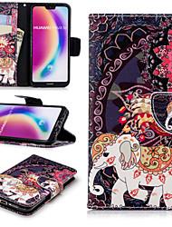 preiswerte -Hülle Für Huawei P20 Pro / P20 lite Geldbeutel / Kreditkartenfächer / mit Halterung Ganzkörper-Gehäuse Elefant Hart PU-Leder für Huawei