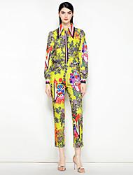 baratos -Mulheres Vintage / Moda de Rua Camisa Social - Estampado, Floral Calça