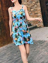 abordables -Mujer Boho Línea A Vestido - Estampado, Fruta Sobre la rodilla Piña